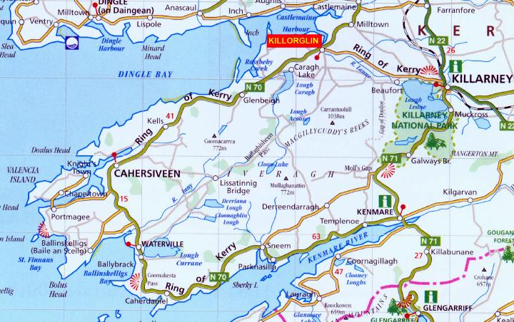 Map Of Ireland Kerry Region.Killorglin Self Catering Holiday Homes The Ring Of Kerry Ireland